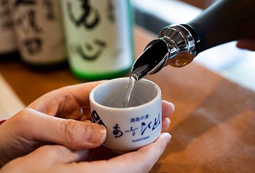 Sake tasting at Asahi-shuzo