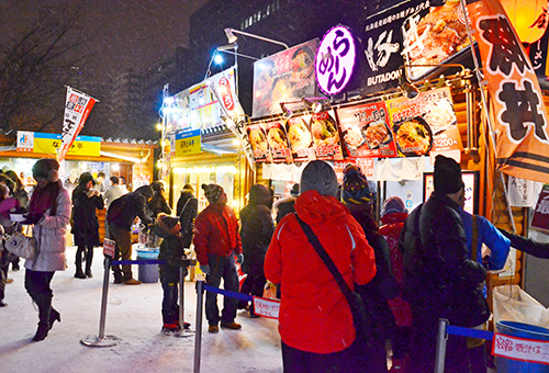 Street Food Stands Dinner at Snow Festival
